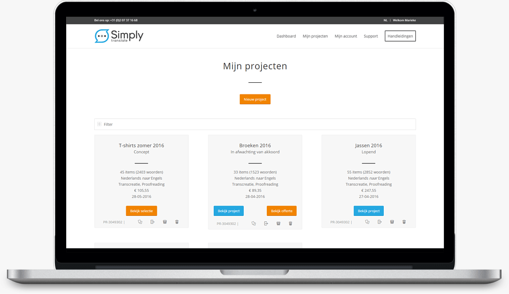 simply translate platform projectoverzicht